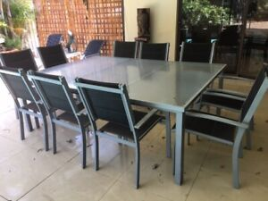 Ten Seater Outdoor Glass Top Table and Chairs