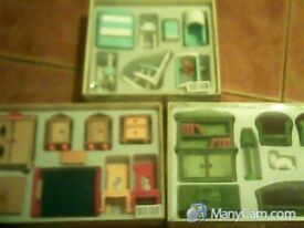 dolls house vintage sets boxed three left