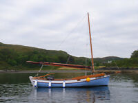16 ft Northumbrian Coble: complete with trailer, sails, motor, camping canopy and inflatable..