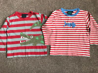 2 x Boden long sleeve TShirts 2-3 yrs crocodile alligator fish (great for pirate costume)