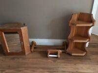 Bathroom furniture for sale; mirrored cabinet, shelves, toilet roll holder & towel rail