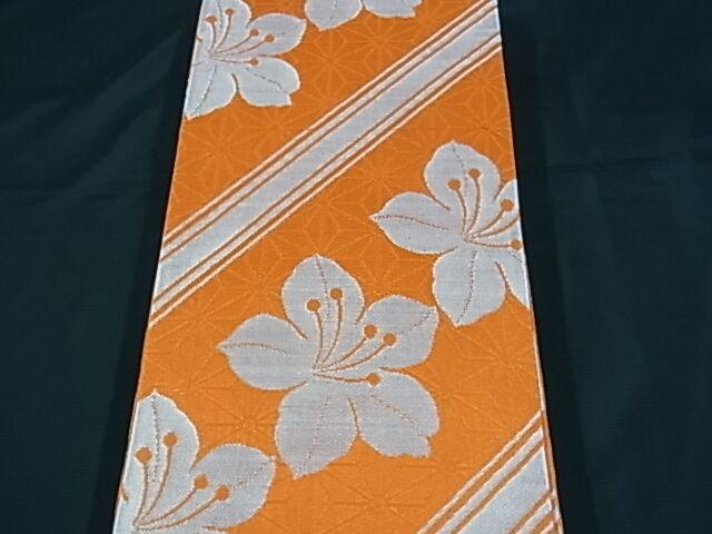 Japanese Kimono OBI YUKATA HANHABAOBI HANOBI FLOWER Lily Reversible NEW