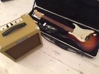 Fender Stratocaster USA American Deluxe HSS electric guitar and Juketone Boutique Tube amp