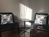 Ikea chairs -2 chairs, pillows and table