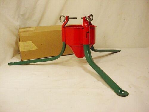 Vtg Red Green Metal Tripod Xmas Tree Stand Handy Things Mfg #4 Orig Box QuikShip