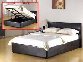 SAME DAY FAST DELIVERY! DOUBLE LEATHER STORAGE BED WITH SUPER ORTHOPEDIC 12 INCHES THICK MATTRESS