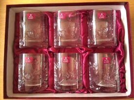 Cut glass crystal glasses / tumblers - Royal Albert - rummer 9oz - set of 6, brand new in box
