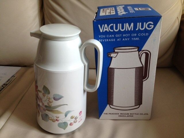 PEACOCK Vacuum Jug Thermos Flask 1 Litre Hot & Cold Liquid Beige Flowers JAPAN