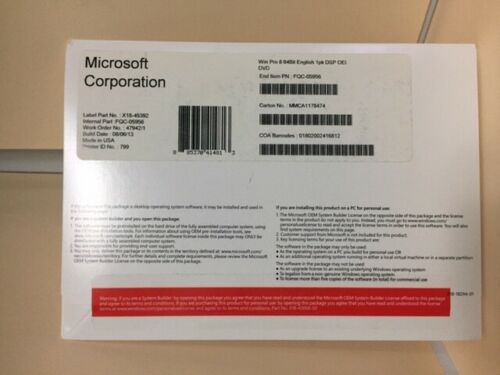 Microsoft Windows Pro 8 64Bit English 1pk_FQC-05956_Brand New