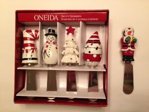 Gift Set of 4 Christmas Spreaders by Oneida - plus one extra