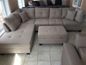 Divan sectionnel Gris en Lin sofa NEUF avec pouf rangement