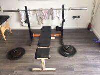 gym equipment - adjustable squat rack adjustable bench olympic bar weights