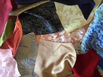 Fancy Fabric Scraps Crazy Quilting Applique Doll Velveteen Satin Brocade Taffeta