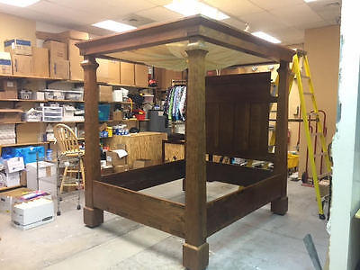Late 1700s English Four Post Canopy Bed Cypress Wood Colonial As Is.