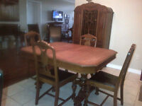 4 pieces- Antique Dining Room Table, Chairs, Hutch, Sideboard