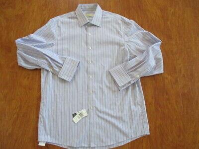 Cotton Non Iron French Cuff (Michael Kors Cotton Dress Shirt Non-Iron Stripe Raspberry 16 34/35 French Cuff )
