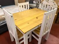 DELIVERING New white and wood small solid dining set with 4 chairs £169 AVAILABLE NOW