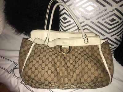 Gucci Abbey D Ring GG Monogram Canvas w/White Trim Shoulder Bag