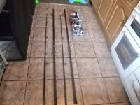 2 X RON THOMPSON 12 FT MASTER BEACH RODS WITH 2 X VIGOR70FD SILK LINE FIXED SPOOL REELS BRAND NEW