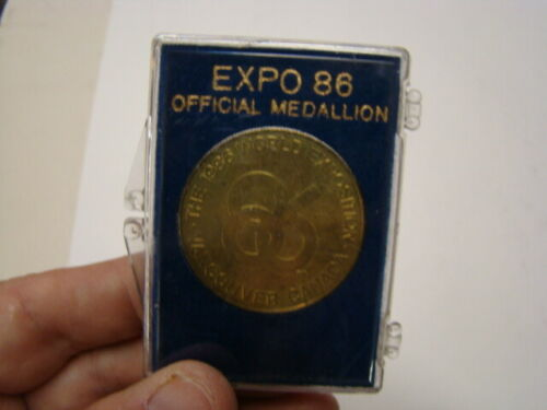 1986 Expo 86 Official World Exposition Medallion Coin & Holder Vancouver Canada