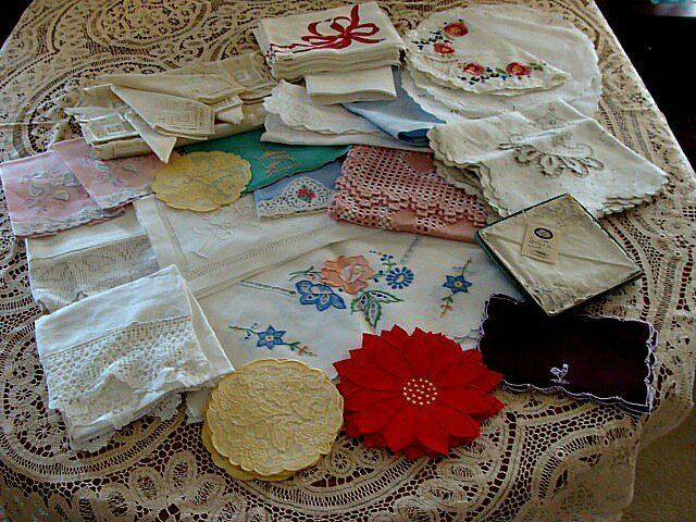 61 pc Lot Vintage Antique Linens  Tablecloths Madeira  Hand Embroidery Marghab