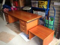 Large Cherry wood desk & matching low level printer table