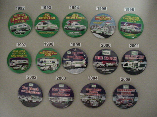 HESS SET 14 Pcs  EMPLOYEE TRUCK ADVERTISING  BUTTONS PIN 1992 - 2005