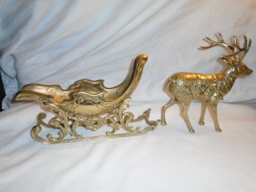 """VINTAGE BRASS REINDEER AND SLEIGH SLED   18"""" LONG"""