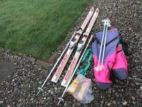 Skis + ski bag + ski carrier + 2 sets ski poles