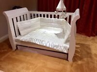 Boori Sleigh Cotbed With Silver Cross Bumper Quilt & Mobile