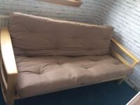 Wooden Framed Futon/Sofa Bed with Beige Mattress - hardly used