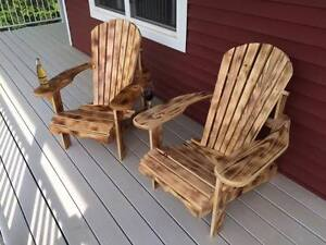 Wood Burned Muskoka Chairs (By Protect All Shrink Wrapping)