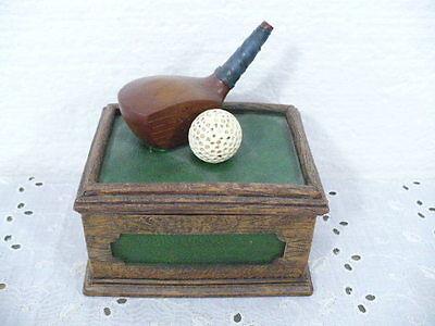 "Golf ball and Golf Club covered trinket box 4-1/2"" x 3-3/8"""