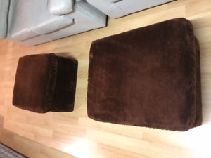 Pair of chocolate brown ottomans