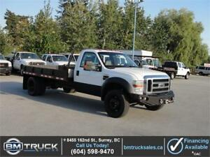 2008 FORD F-550 SUPER DUTY REG CAB FLAT DECK 4X4 6 SPEED DIESEL