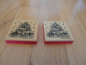 Lot of 4 wooden decor pieces with christmas tree print pattern London Ontario image 1