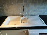 Kitchen Wall Cupboards, Black granite worktops, Sink and taps