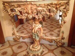 Miroir et table ; console baroque