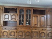 Solid oak wood wall units 14ft light up made in Germany