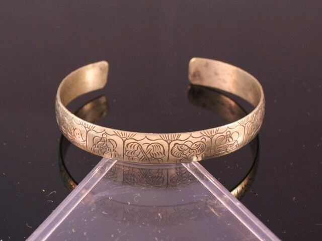 Solid Tibetan Carved Golden 8 Auspicious Symbol Dragon Tail Amulet Cuff Bracelet