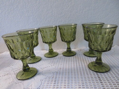Vintage Green Thumb Print Wine Goblets - 6