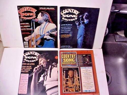 Country Song Roundup -four 1970s country music magazine lot Willie, Conway more