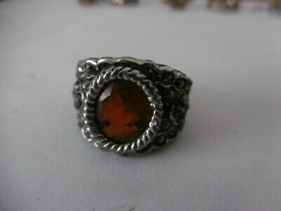 WOMANS 925 SILVER RING .RED .EMERALD STONE..SIZE