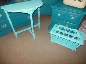 Half moon table or spindle magazine rack, light teal London Ontario image 1