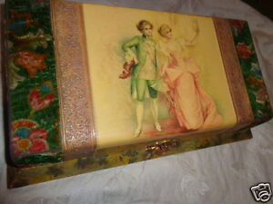ANTIQUE-VICTORIAN-COURTING-COUPLE-CELLULOID-VELVET-LARGE-DRESSER-VANITY-BOX