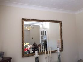 Very Large Gold Ornate Wall Mirror.