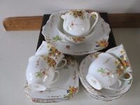 1910 / 20s CHARLES WAINE ENGLISH BONE CHINA SUMMER BLOSSOM TEA SERVICE-COLLECT OSSETT-WAKEFIELD.