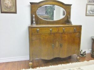 Antique Victorian Oak Buffet w/Mirror{ DELIVERY Avail]