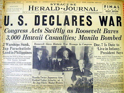 Dec 8 1941 hdlne newspaper US DECLARES WAR on JAPAN after ATTACK on PEARL HARBOR
