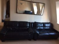FREE black leather set of sofa